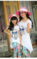 1sets New Summer Family Set clothes Mother Daughter Girls T Shirts+Pants 2pcs