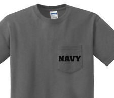 Pocket t-shirt men's United States Navy pocket tee mens dark gray shirt us navy