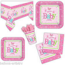 Little Pink WELCOME Baby Girl Shower Party Plates Cups Napkins Tableware Listing