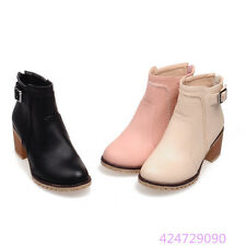 Womens Ladies Ankle Boots Back Zipper Chunky Med Heels Shoes Boots US Size Y1267