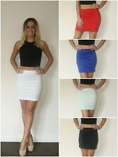 Womens Ladies Stretch Plain Bodycon Jersey Short Mini Office Party Dress Skirt