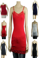 Lace Trim SPAGHETTI TANK TOP Adjustable Strap Long Layering Cami Tunic Top PLUS