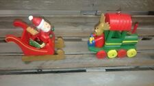GISELA GRAHAM WOODEN TRAIN SANTA REINDEER HANGING CHRISTMAS TREE DECORATION HOME