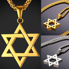 New 316L Stainless Steel David Star Pendant Necklace 18K Gold Plated Men Jewelry