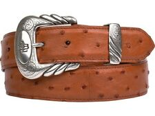 Lucchese W6031 Mens Cognac Full Quill Ostrich Leather Western Belt