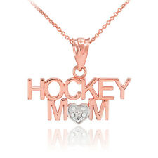 14k Two-Tone Rose Gold HOCKEY MOM Heart Diamond Pendant Necklace