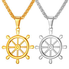 New Ship Rudder Shaped Stainless Steel Pendant Necklace Gold Plated Mens Jewelry