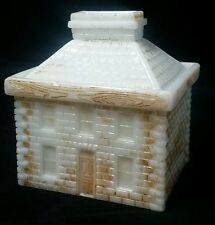 1905 STONE HOUSE MUSTARD BANK WESTMORELAND PAINTED MILK GLASS ANTIQUE RARE
