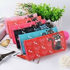 Good Fashion Lovely Cat and Music Score Print Women Wallet PU Card Holder