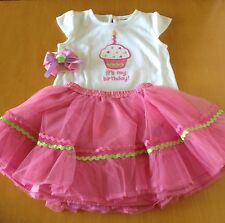 Gymboree 2 2T 3 3T Birthday Top Tulle Tutu Skirt Hair Set Outfit Lot New NWT!
