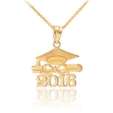 "14k Solid Gold ""CLASS OF 2016"" Graduation Hat Diploma Pendant Necklace"