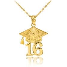 14k Solid Gold 2016 Class Graduation Pendant Necklace