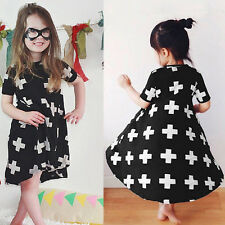 Toddler Baby Girls Kid Short Sleeve Dress Cross Princess Pageant Party Dresses
