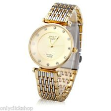 Male Couple Women Quartz Wrist Watch Diamond Dial Stainless Steel Band Case gift