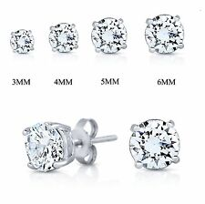 925 Sterling Silver Cubic Zirconia  Round Basket Prong Set Stud Earrings