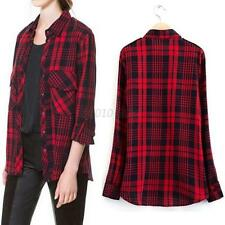 Vintage Womens Roll Up Long Sleeve Blouses Casual Flannel Cotton Shirt Tops B59