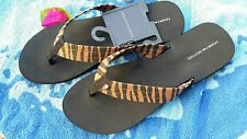 TOMMY HILFIGER WOMENS FLIP FLOPS BLACK TIGER 11