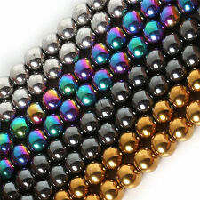 Wholesale 4/6/8/10mm Round Hematite Beads Loose Beads Shamballa Multi-color HTH
