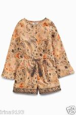 Next Girl`s Paisley Print Long Sleeve Playsuits/Jumpsuit Camel Size 5-16yrs