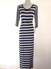 Calvin Klein NWT Navy and Gray  Belted  Striped Maxi Summer Dress