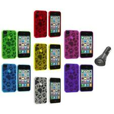 TPU Dog Paw Print Color Rubber Jelly Case Cover+Car Charger for iPhone 4S 4G 4