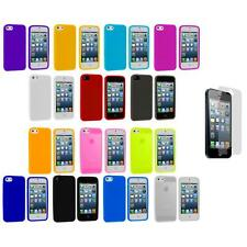 Color Silicone Gel Rubber Soft Skin Case Cover+Screen Protector for iPhone 5 5S