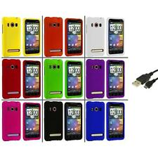 Color Hard Snap-On Rubberized Case Cover+USB Cable for HTC Sprint EVO 4G