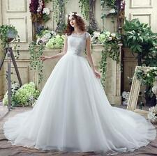 2017New Lace Mesh Wedding Dress Train Back Zipper Bridesmaid Gowns White/Ivory