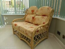 Country Cane Conservatory Furniture 2 Seater Wicker Sofa with Cushions
