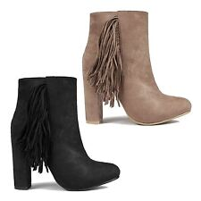 New Ladies Fringe Ankle High Block Heel Boots Faux Suede Tassel Shoes Heels Size