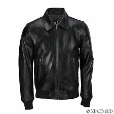 Mens Black Soft Real Leather Vintage Collar Bomber Style Biker Jacket