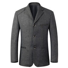 2016 Mens Spring Slim Fit Blazer Suit Three Button Jacket Wool Blend Casual Tops