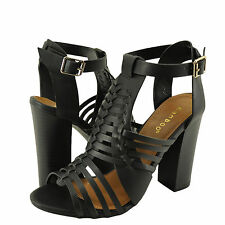 Women's Shoes Bamboo Stash-02V Woven Strappy Chunky Heel Sandal Black *New*
