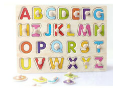 Wooden Animal/Shape/Letters Shaped Peg Puzzle Baby Toddlers Preschool Kids Toy
