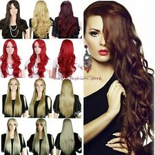 UK Long Curly Wavy Straight Full Wig Cosplay Party Natural Amazed Stylish Red JZ
