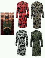Womens Celeb Inspired Long Sleeved Camouflage Army Print Belted Long Shirt Dress