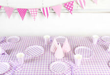 PARTY SUPPLIES GINGHAM CHECK PLATES CUPS NAPKINS BUNTING TABLECLOTH LAVENDER
