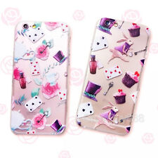 Cute Alice Mr.Rabbit Rose Cartoon Clear Hard Case Cover for iPhone 5S 6 6S 6Plus