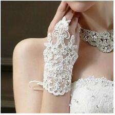 Elegant Short White Ivory Wrist Lace Fingerless Wedding Bridal Glove one Lace up