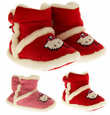 Girls Hello Kitty Slipper Boots Warm Faux Fur Lined Padded Boot Slippers