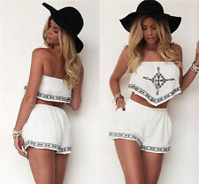 New Women Sexy Summer Beach Strapless Crop Top Pants Jumpsuit Romper Two Piece