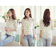 Korean Fashion Women Dandelion Chiffon Tops Long Sleeve Shirt Button Blouse HPT