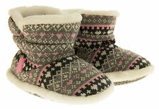 Girls Knitted Pink or Grey Heart Fur Lined Warm Slipper Boots Sz 10 11 12 13 1