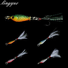 1pcs Metal Minnow with feather Fishing Lures Hard Crank Bait Treble Hooks Tackle
