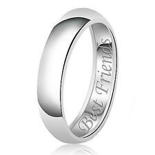 Sterling Silver 925 Solid Couples Best Friends Wedding Band Promise Ring