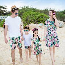 New Bohemia Women girl dresses Men Boy sets Summer flower fashion Family clothes