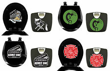 FC683 2 PIECE SET LOGO THEMED BLACK FINISH BATHROOM SCALE ROUND WOOD TOILET SEAT