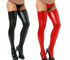 2016 Women Sexy Lingerie Stocking Legging Faux leather Clubwear + G-String