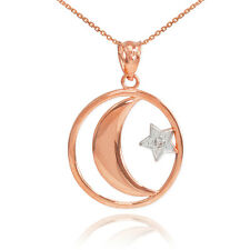 14k Rose Gold Crescent Moon with Diamond Star Islamic Pendant Necklace