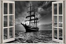 Huge 3D Window Sailing Ship Schooner View Wall Sticker Decal Mural 843